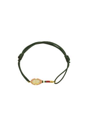 9K Yellow Gold & Enamel Tennis Cord Bracelet in Sand Pink/Green