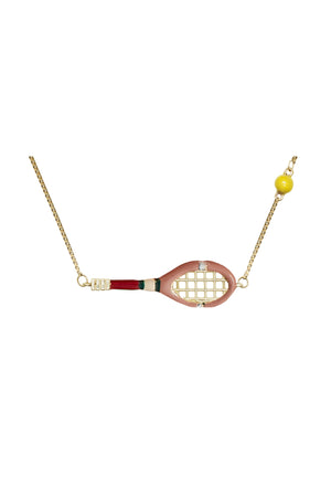 9K Yellow Gold & Enamel Tennis Necklace in Sand Pink