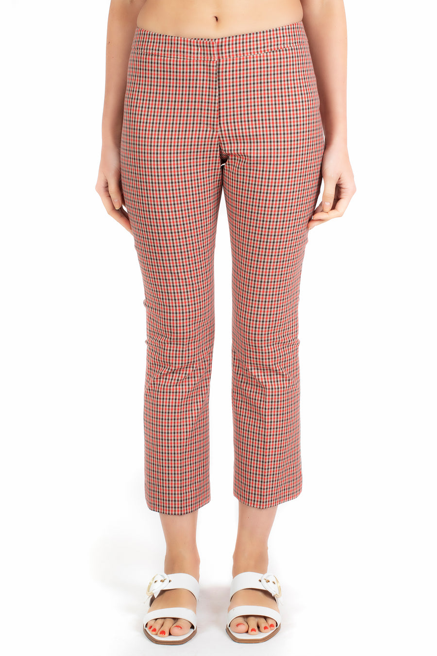 Monet Cropped Kick Plaid Pant in Scarlet