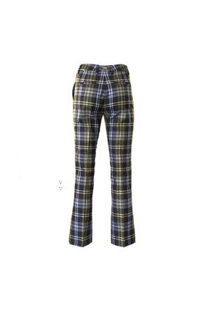 Cropped Bootcut Leg Pant in Navy Plaid
