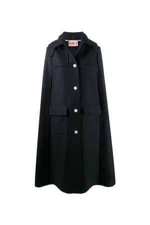 Twill Wool Coat in Navy