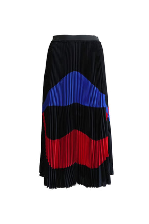 Black Pleated Skirt with Stripe Detailing