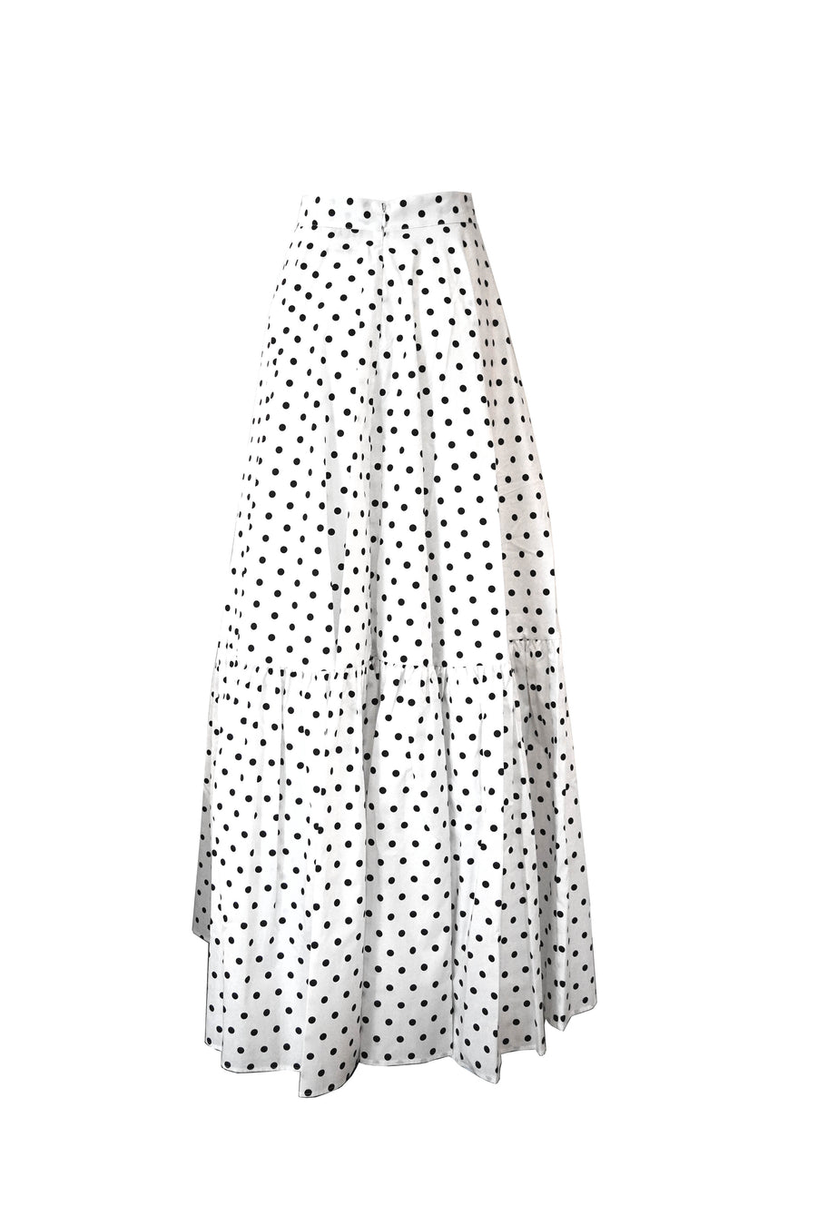 Polka Dot Maxi Skirt in White