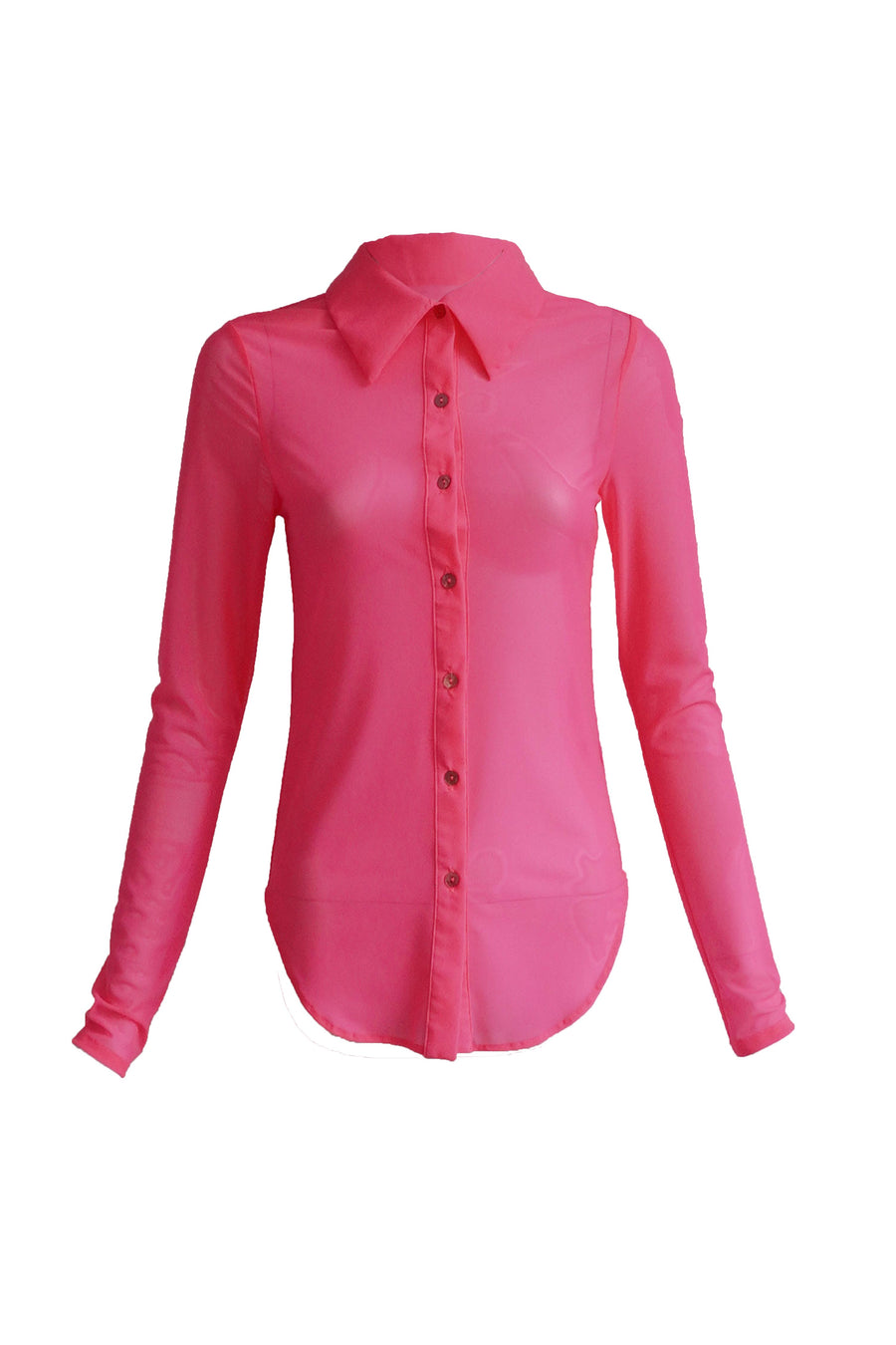 Guava Button Down Mesh Top