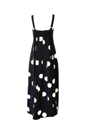 Broken Dot Print Bustier Dress in Black and White
