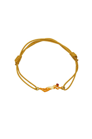 9K Yellow Gold Swimmer Cord Bracelet in Red/White