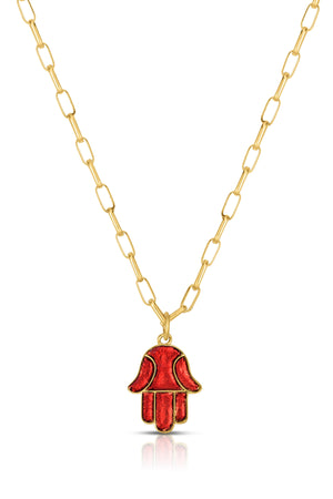 18K Gold & Enamel Small Hamsa Necklace in Red