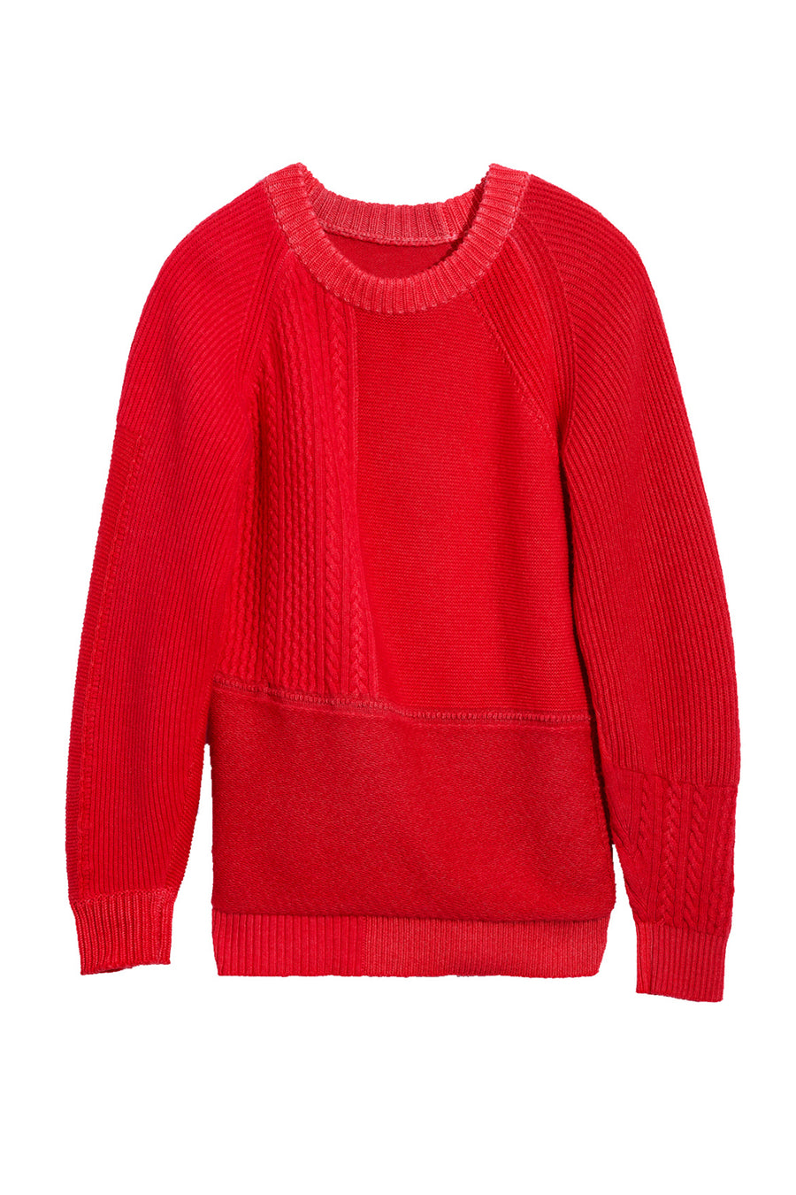 Raglan Pullover with Patchwork Pattern in Red