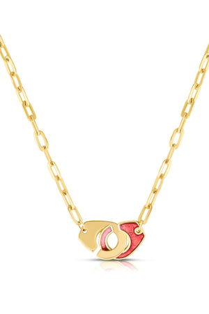 18K Gold & Enamel Clasp Necklace in Rose