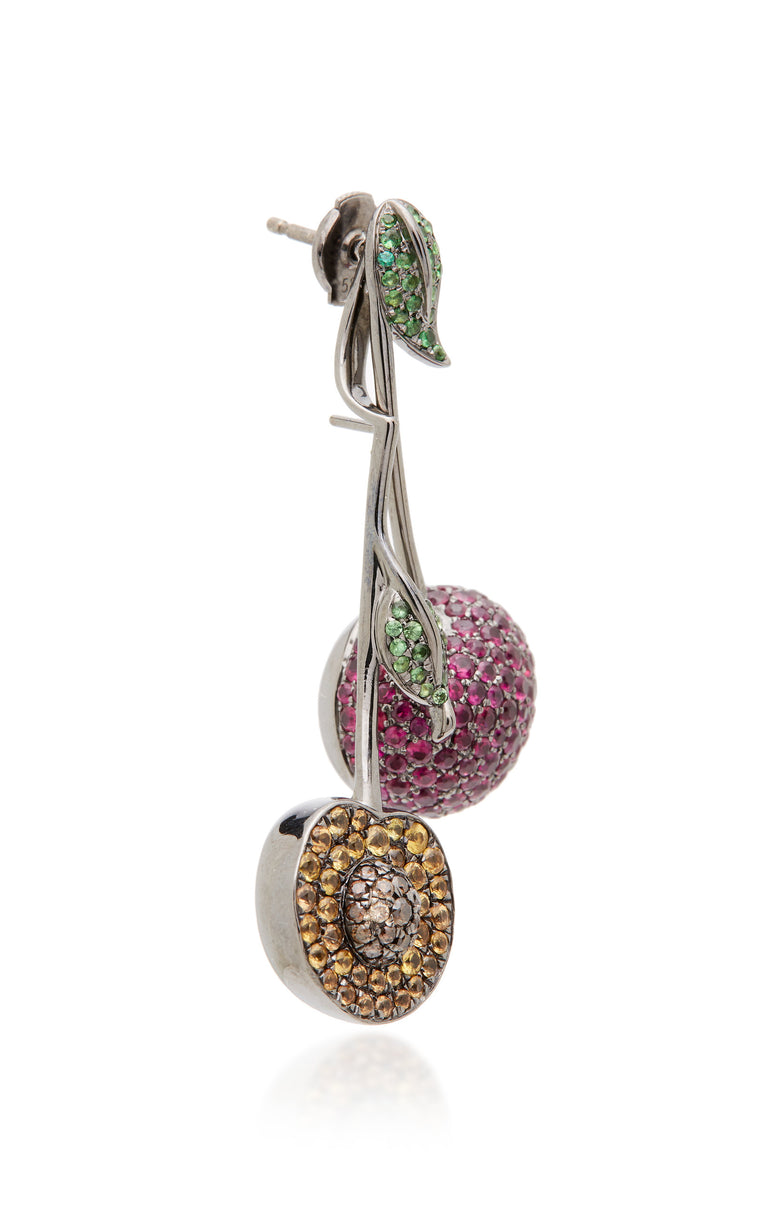 9K White Gold with Rubies and Brown Diamonds Cherries Mono Earring