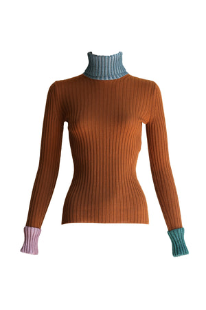 Long Sleeve Lurex Ribbed Turtleneck