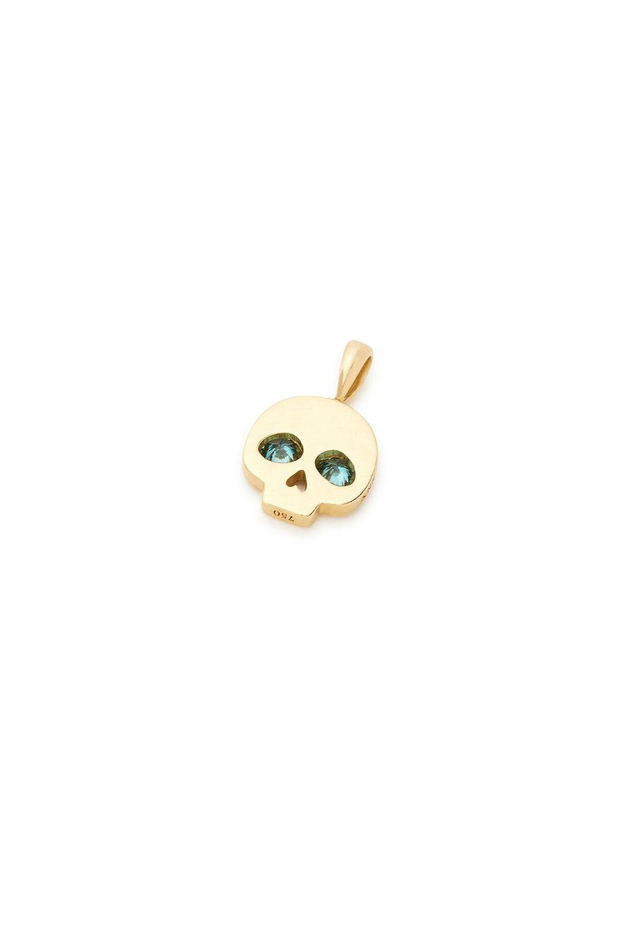 18K Gold White and Blue Diamonds Skull Charm