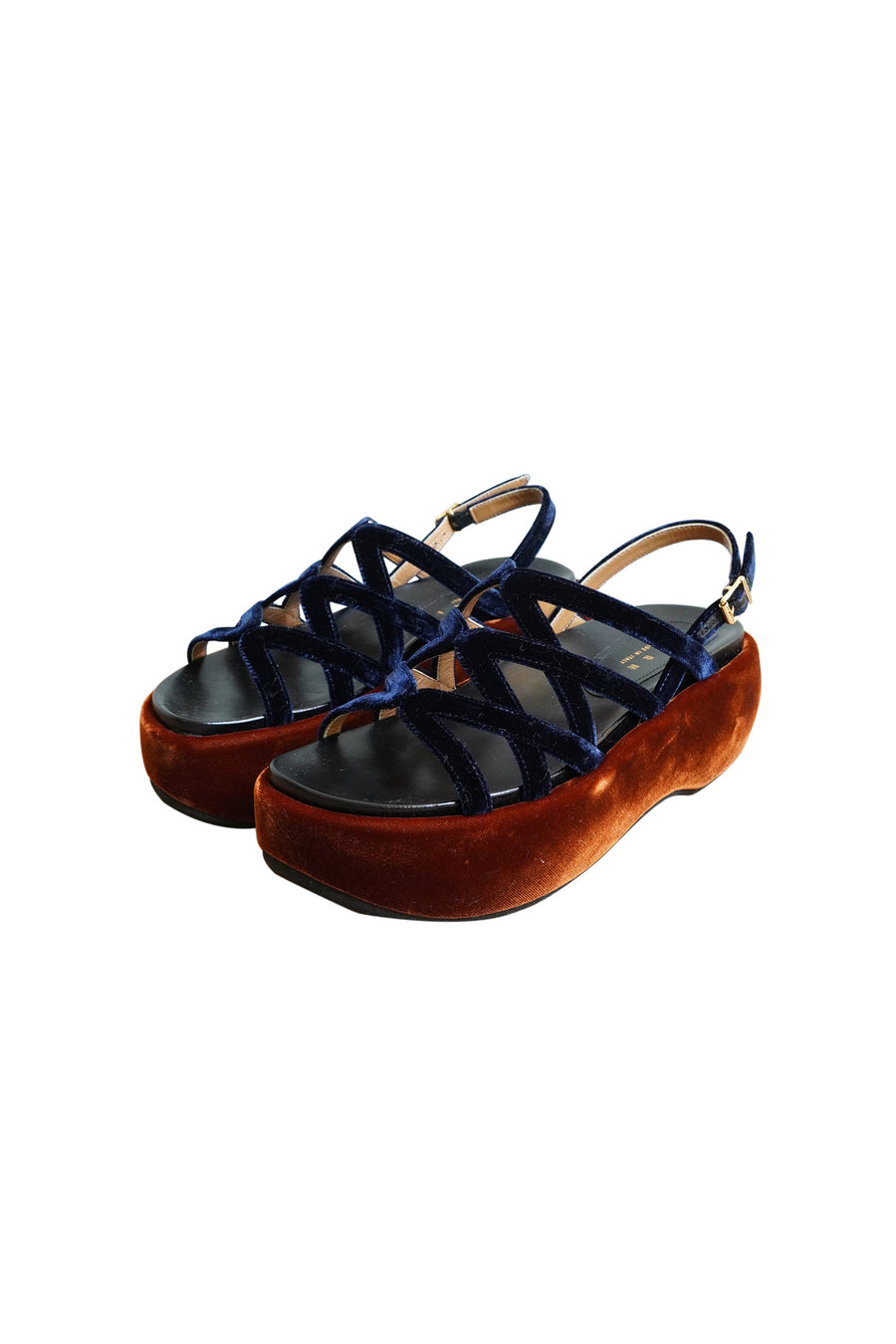 Navy and Bronze Velvet and Leather Platform