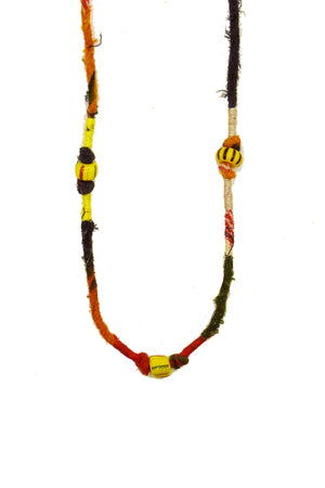 Multi-Colored Saree Beads Double Loop Necklace