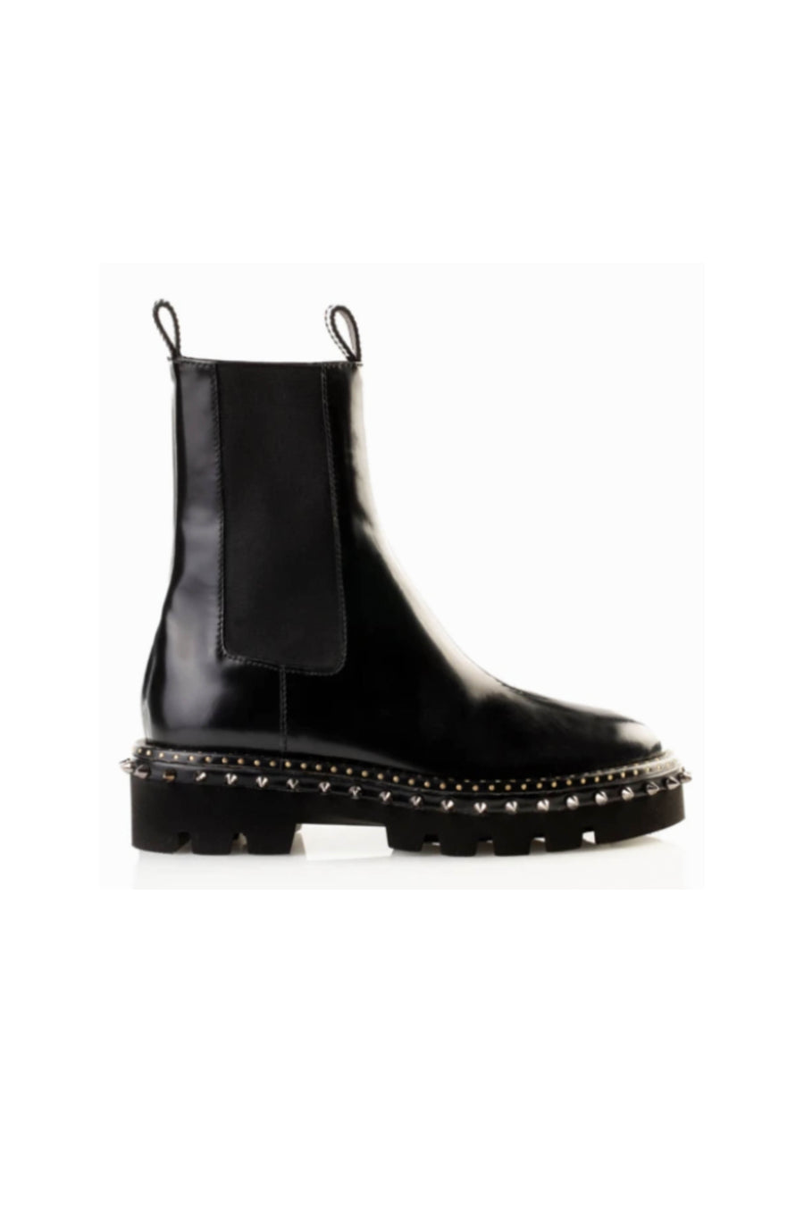Black Leather Chelsea Boots with Studs