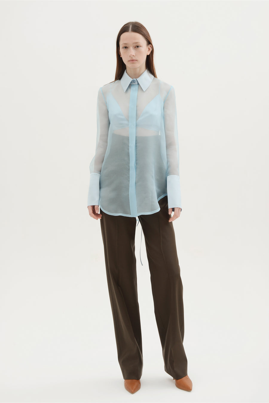 Silk Organza Sheer Shirt W/ Bra - Light Blue