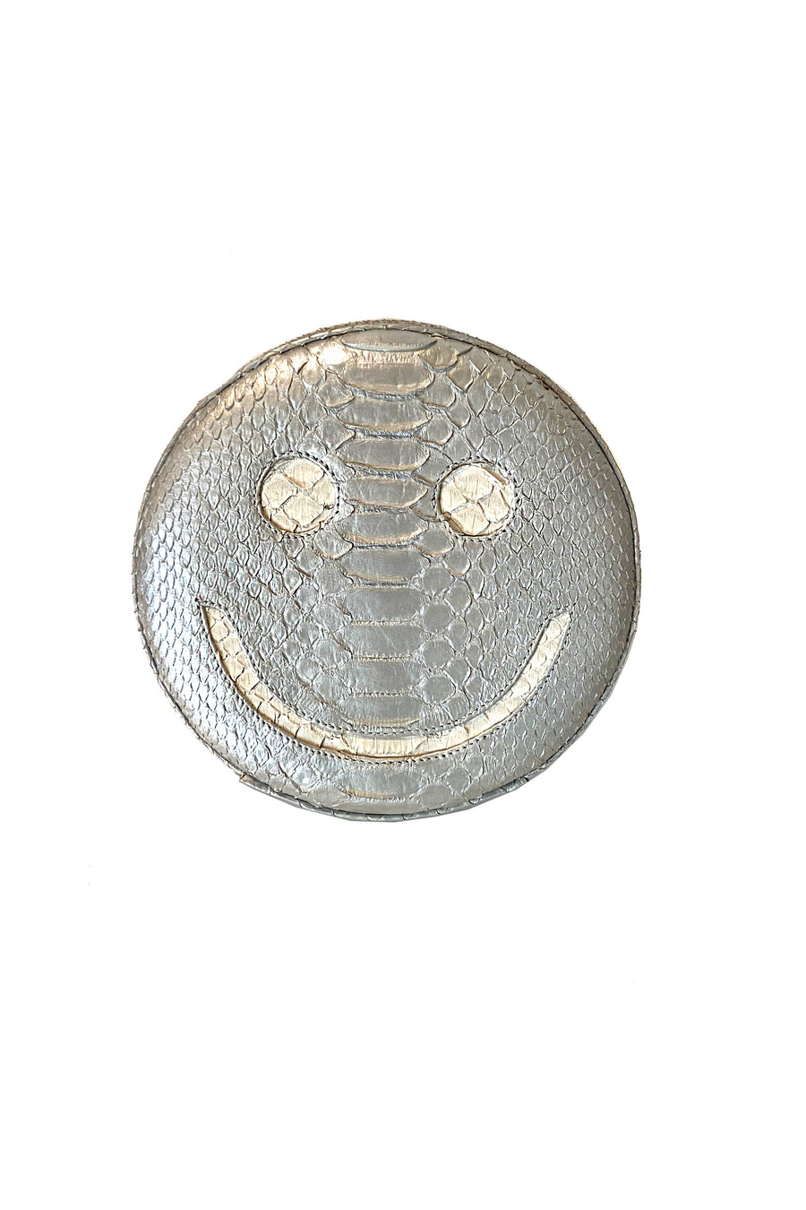 Silver Smiley Face Exotic Skin Clutch