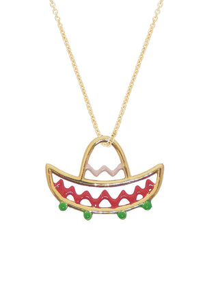 9K Yellow Gold & Enamel Mariachi Necklace in Pink/Red/Green