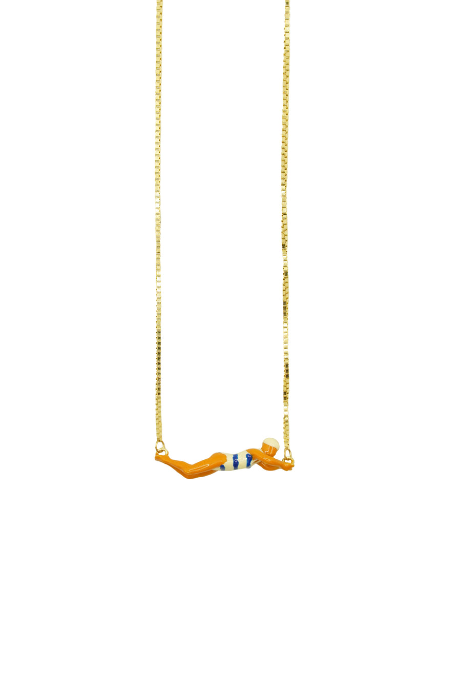 9K Yellow Gold Striped Swimmer Necklace in Blue/White