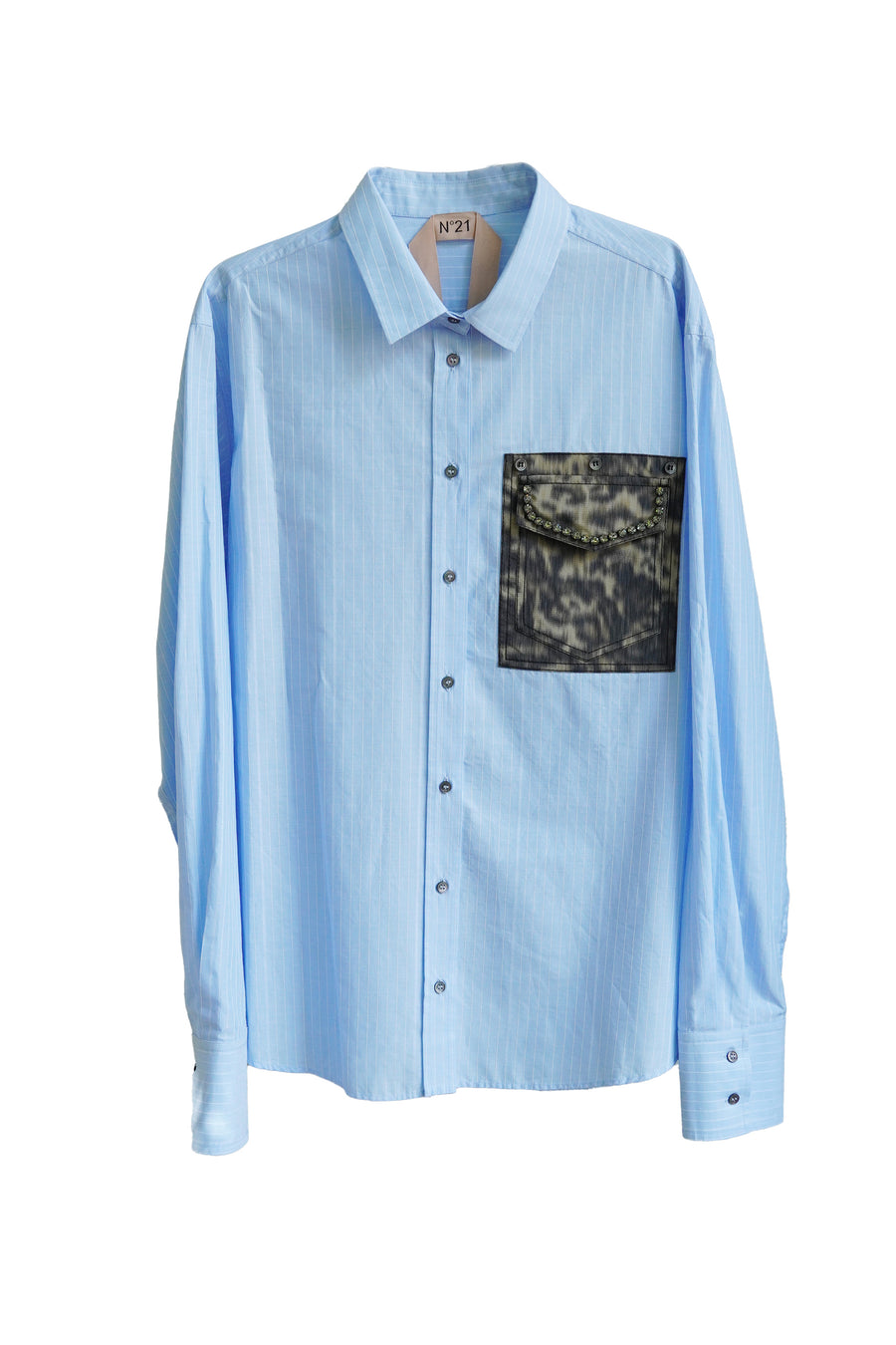 Blue Shirt with Camo Print Pocket