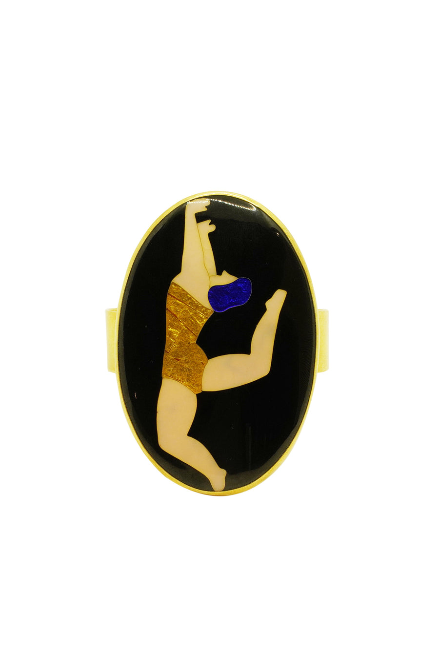 Gold Plated and Enamel Swimmer Cuff Bracelet