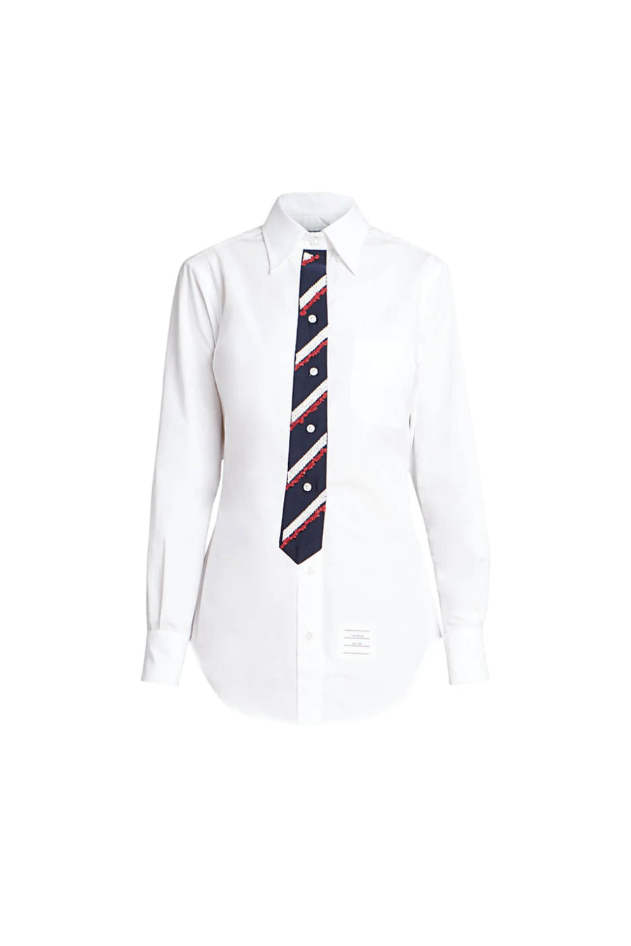 Classic Button Down Point Collar Shirt with Trompe L'oeil Necktie in White