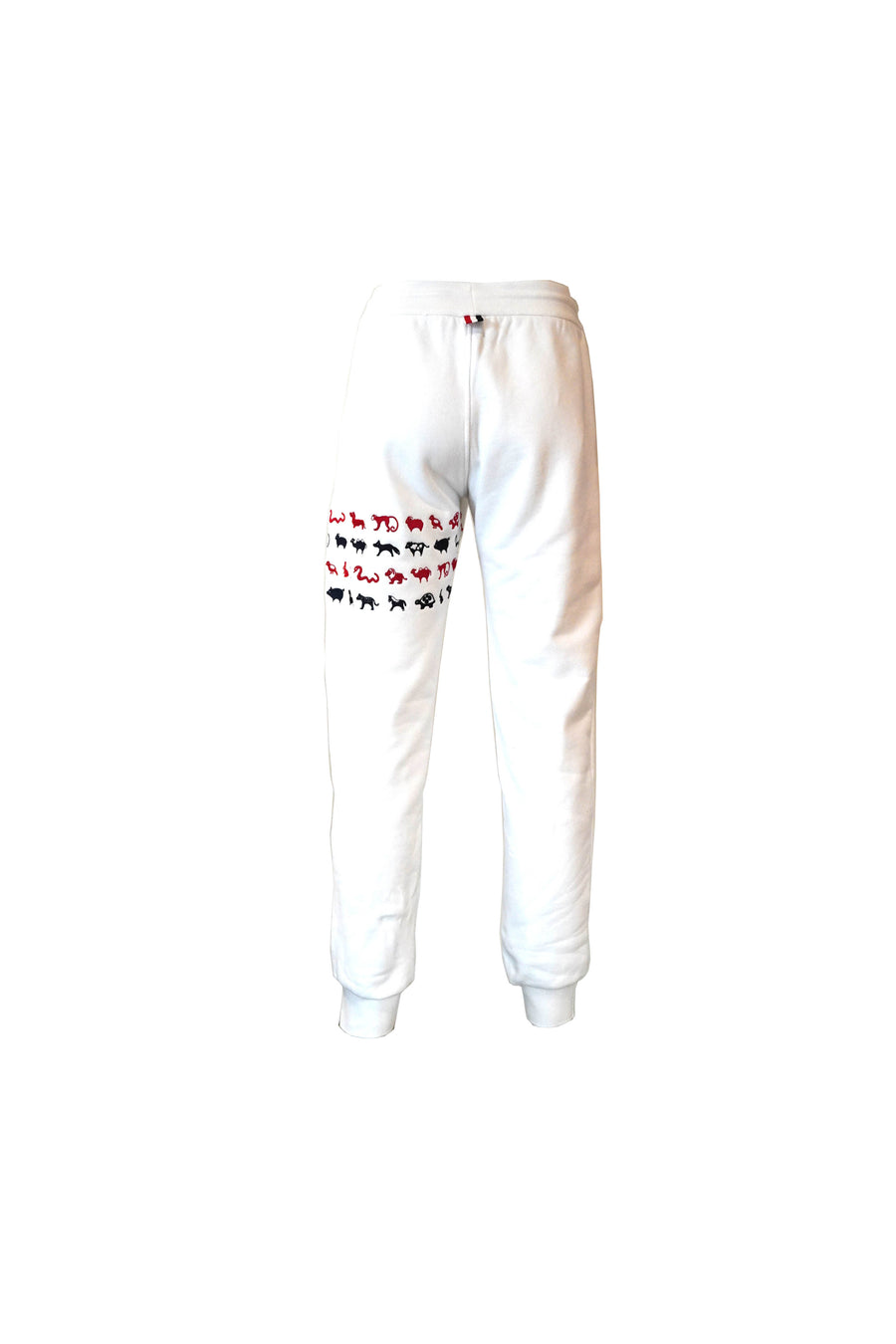 Sweatpants with RWB Embroidered Icon 4 Bar Stripe in White