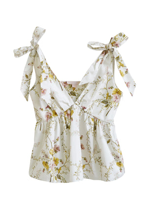 Floral Top W/ Ties in White Multi