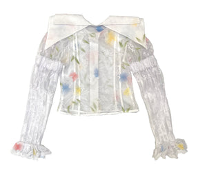 Lace Butterfly Double Collar Top