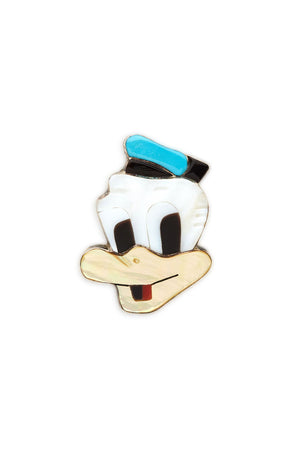 Sterling Silver and Carved Stone Donald Duck Brooch/Pendant