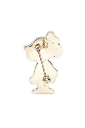 Sterling Silver and Carved Stone Minnie Brooch/Pendant