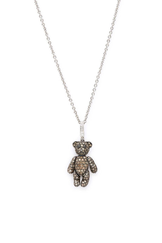 18K White Gold with Brown Pave Diamonds Bo Bo Bear Necklace