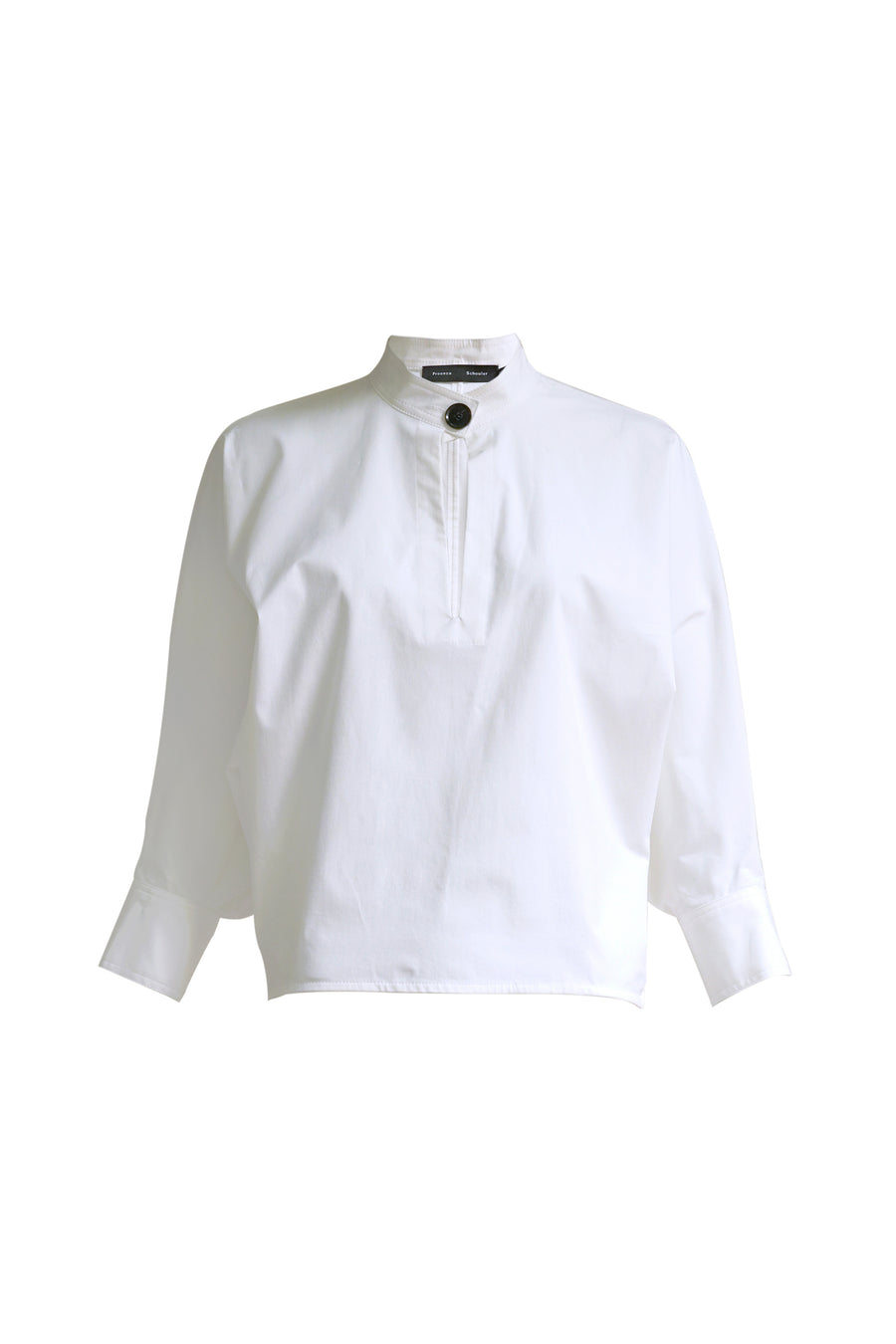 3/4 Sleeve Cotton Poplin Shirt with Banded Collar