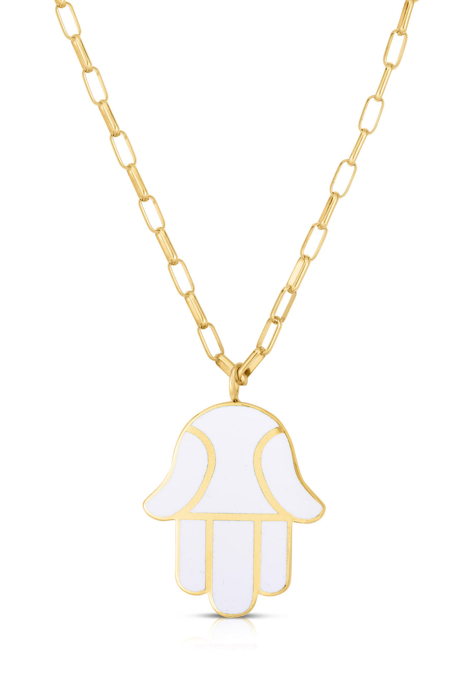 18K Gold & Enamel Small Hamsa Necklace in White