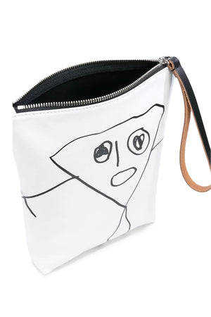 Printed Pouch with Handle in White