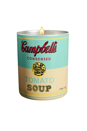 Andy Warhol Turquoise & Yellow Campbell Soup Candle