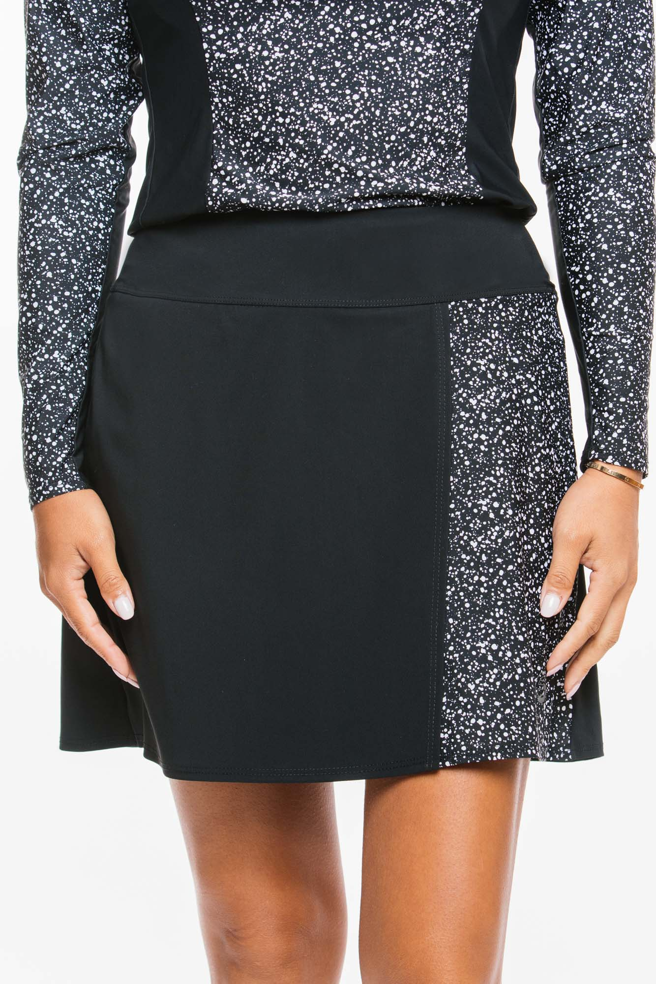 Color Blocked Wrap Skirts | black splatter print   xs