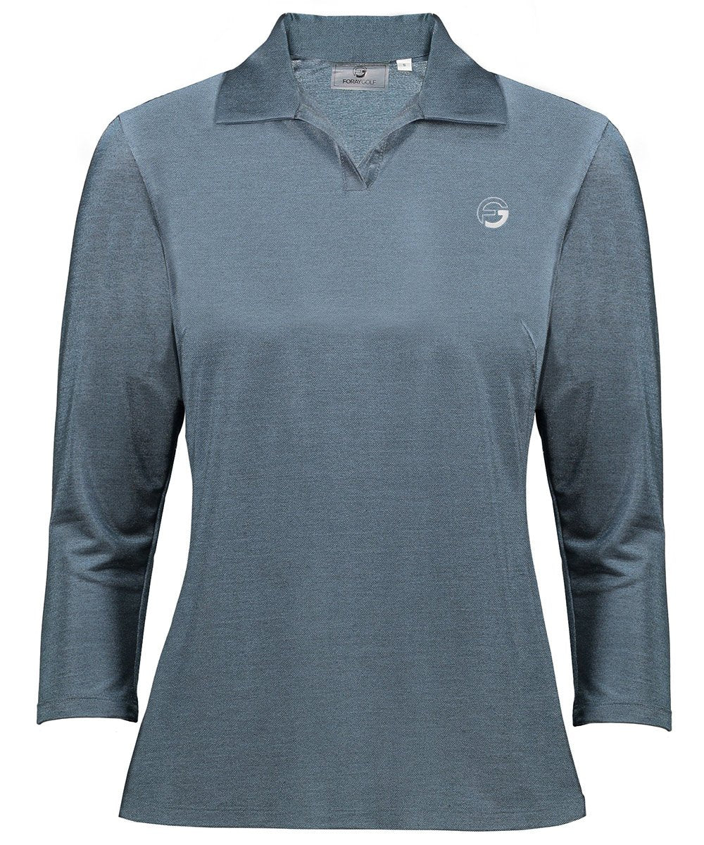 BLUE STEEL 3/4 Sleeve Metallic Pique Polo | xs