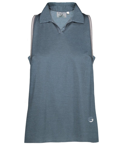 BLUE STEEL Sleeveless Metallic Pique Polo