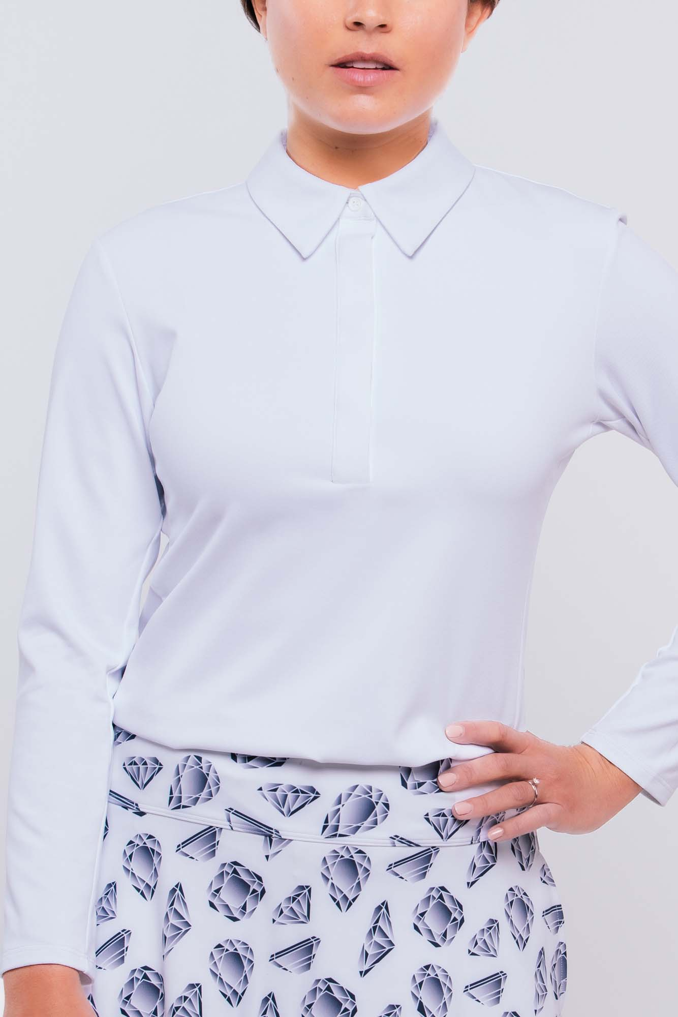 Pique Long Sleeve Polo | white   xs