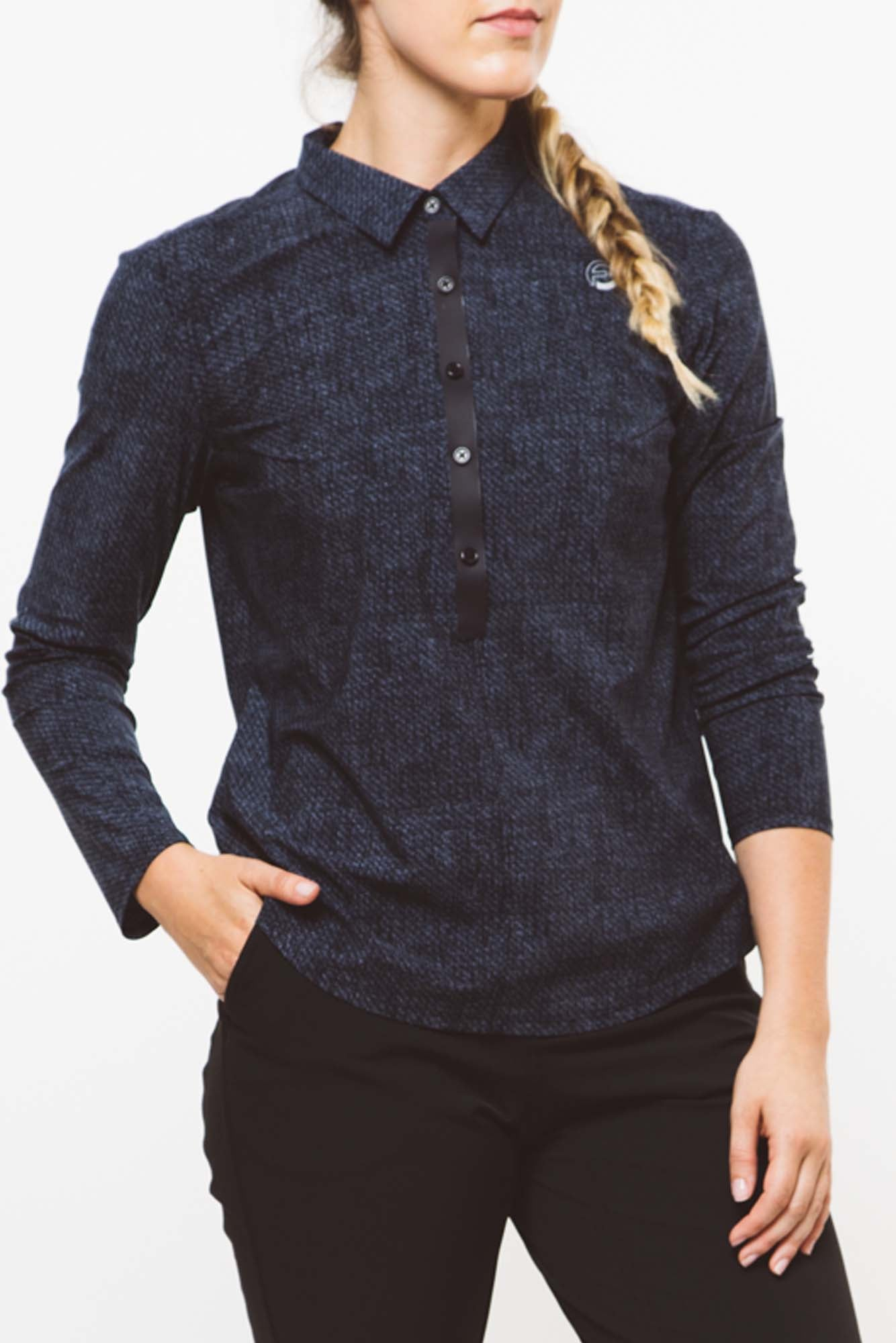 CORE Long Sleeve Polo | blue black twill   xs