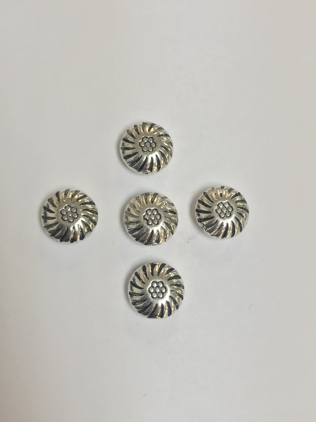 Pewter 2D Flattened Round Beads with Design 15mm