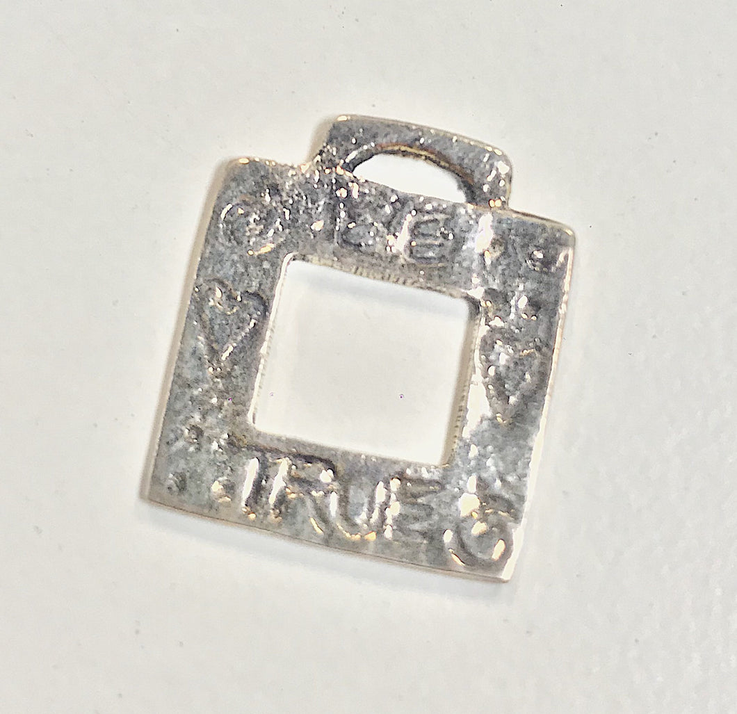 Sterling Silver Charm, Square with words Be True