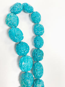 Carved Turquoise Reconstituted 17beads approx 20-25mmx 15x20mm
