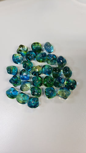 czech glass beads - Blue/green irregular shape approx 12mm