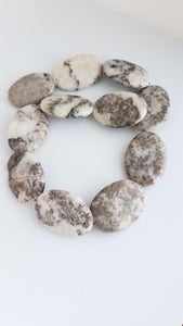 Marble Oval Flat Beads 35mm x 25mm 11 beads