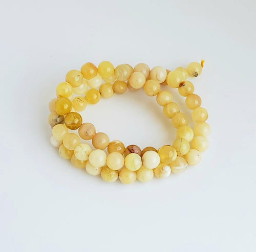 8mm Yellow Opal Bead Strands