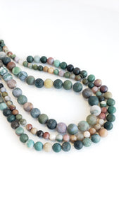 "8MM INDIAN AGATE MATTE 16"" STRAND"