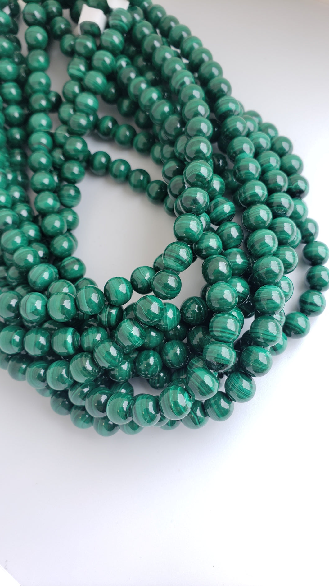 8mm Malachite Gemstone Bead Strand 16