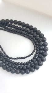 "6MM BLACK LAVA 16"" STRAND"